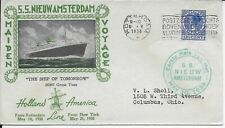 Netherlands Cover S.S. Nieuw Amsterdam Maiden Voyage to Usa 1938 Holland America