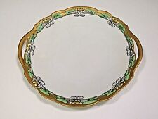 Bavaria Cake Plate Hand Painted Lily Lilies Art Deco Nouveau Gold Green 1916