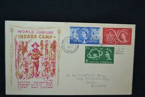 GB first day cover 1957 Scout Jubilee  with Sutton Coldfield slogan cancel