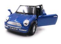 Mini Cooper Modellauto mit Wunschkennzeichen Blau Maßstab 1:34-39 (lizensiert)