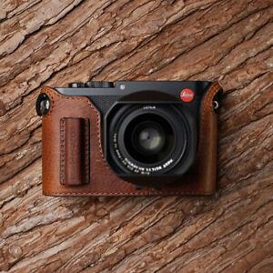 Genuine Leather Camera Half Case Grip Holder For Leica Q2 Handmade Black Brown
