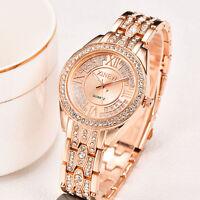 Women Crystal Stainless Steel Bracelet Watches Analog Quartz Wrist Watch