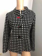 gordon smith black white polka dot viscose wool blend jacket 10 12 GUC