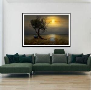 Boat & Tree on Lake Scenery Print Premium Poster High Quality choose sizes