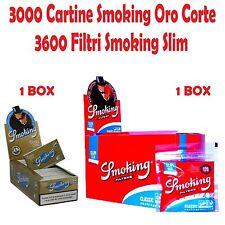 3000 CARTINE SMOKING ORO CORTE .GOLD + 3600 FILTRI SMOKING SLIM 6mm