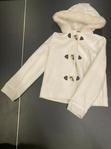 Janie & Jack collection white pea coat horn button hoodie fully lined excellent