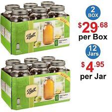 BALL 68100 Wide Mouth Mason Canning Jars Half Gallon (64 Oz) - 12 Count