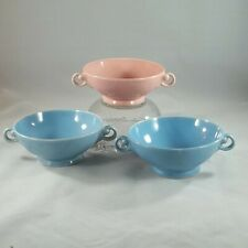 3 Lu Ray Pastels Cream Soup Bowls, Windsor Blue & Sharon Pink