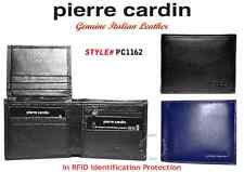 PIERRE CARDIN MEN'S WALLET - GENUINE ITALIAN LEATHER - IN BLACK or NAVY-BLUE