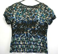 Investments Womens Petite XL Scoop Neck Short Sleeve Multicolor Blouse Shirt Top