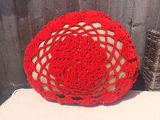 "Vintage Cushion Red Wool Crochet Unusual Boho Oval Handmade VGC 17"""