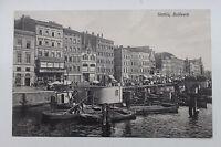 26162 AK Stettin Bollwerk Boote und Geschäfte am Hafen um 1912