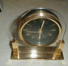 Vintage 1980's West Germany Movement Quartz Brass-Acrylic Desk Alarm Clock