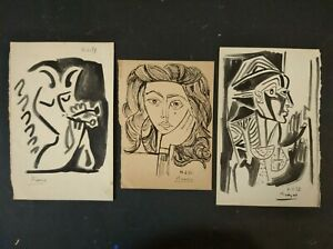 PABLO PICASSO       THREE  DRAWING INK  SIGNED  ON  PAPER OLD PAPER.