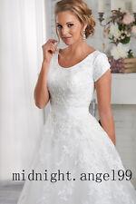 White/Ivory Short Sleeve Modest Wedding Dresses Bridal Gown Custom size