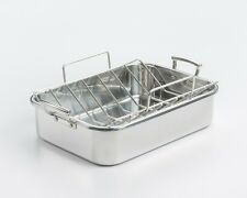 """New listing Professional 1mm Stainless Roaster w/ Rack 16-1/2""""x12""""x4"""""""