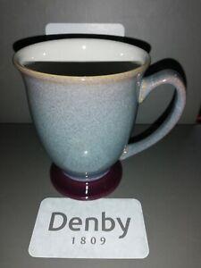 Denby Storm footed  mug blue/grey with plum detailing
