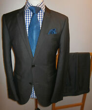 NEXT MENS 40R SLIM FIT SUIT GREY STRIPE JACKET TROUSERS 34R WAIST 34 x LEG 31