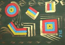 1992 Cubist gouache painting signed