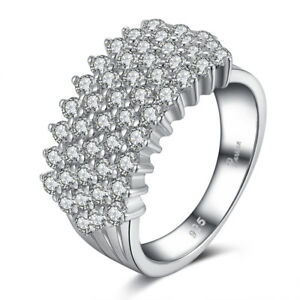Princess Crystal 925 Silver Ring Zircon Engagement Rings Female Bijoux Jewelry