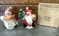 "3"" Mr & Mrs Santa Claus JAPAN Vtg 1949 Hand Crafted Felt Wooden Figures w/ Box"