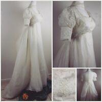 Vtg 1963-1974 Union Princess Empire Waist Puff Sleeve Lace Wedding Dress Sz...