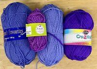 Knitting Yarn-Crochet-Lot 280g Purples-DK-Aran-Spinning-Crafts-New-BX19