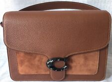 Coach Mixed Leather Top Handle Bag in Brown