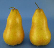 Faux Fake Fruit 2 Tall Golden Yellow Pears Plastic Decorative Staging Prop
