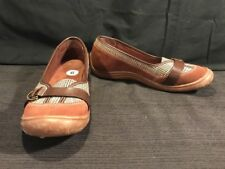 d270d5a1f710 9 D WIDE Lands  End Slip On Shoes Low Wedges Heels Brown Suede   Plaid