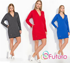 Womens Oversized Tunic V Neck Long Sleeve Mini Dress Long Top Sizes 8-14 FA499