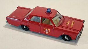 59-C NM/MINT! Beautiful Ford Galaxie Fire Chief Car Lesney Matchbox circa '66