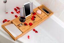 Bathforia Bathtub Caddy Tray Deluxe Bamboo Bath Accessories Non-Slip Adjustable