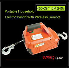 450KG*4.6M Portable Household Electric Winch With Wireless Remote Control