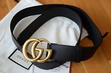 Original Gucci Gürtel Schwarz Leder GG Gold Schnalle GR 105