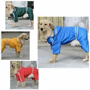 Waterproof Dog Raincoat Reflective Rain Wear Cloth For Large Pet Puppy Outerwear