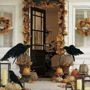 Halloween Crow Prop Black Realistic Raven Feathered Spooky Party Home Decor Sy