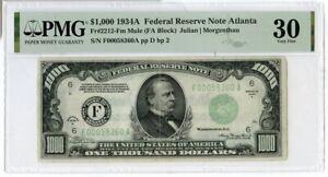 1934-A $1000 One Thousand Dollars Federal Reserve Note Atlanta PMG 30 - JM189