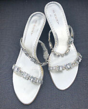 NEXT Silver Jewelled Barely There Kitten Heel Sandals UK Size 8 (EUR 42)