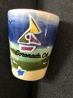 Ceramic Shot Glass from Coronado CA -Colorful Scene