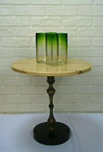 Italian Mid-Century Modern Regency Resin Travertine Marble & Brass Side Table