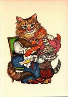 """POSTCARD-VICTORIAN CATS- """"FATHER'S DAY"""" 1987 EVELYN GATHING ILLUSTRATION  BK19"""