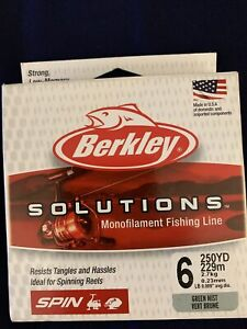 Berkley Solutions Mono Spin Fishing Line 6# 250 yards Green Mist Pure Fishing
