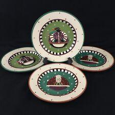 Set of 4 Decorative Christmas Plates by Williraye Studio 2006 Santa Penguin