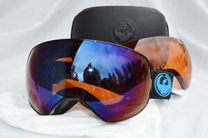 NIB DRAGON APX2s SNOWBOARD GOGGLES $220 split blue ion w/ amber lens