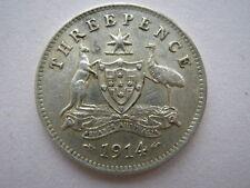Australie 1914 Trois Pences, VF, obv tentative piercing.