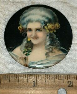 ANTIQUE ATTRACTIVE VICTORIAN LADY CELLULOID POCKET MIRROR COLORFUL BEAUTY