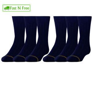 Gold Toe Boys Cotton Crew Socks 6 Pairs Small Navy