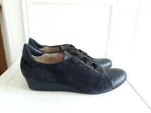 MODA DI FAUSTO Blue Suede Leather Slip On Wedge Low Heel Comfort Shoes Sz 7 / 41