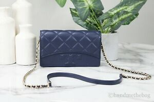 Tory Burch 64141 Savannah Navy Quilted Leather Chain Crossbody Flat Wallet Bag